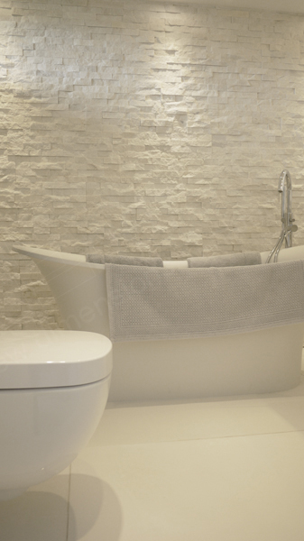 natural stone bathroom wall features
