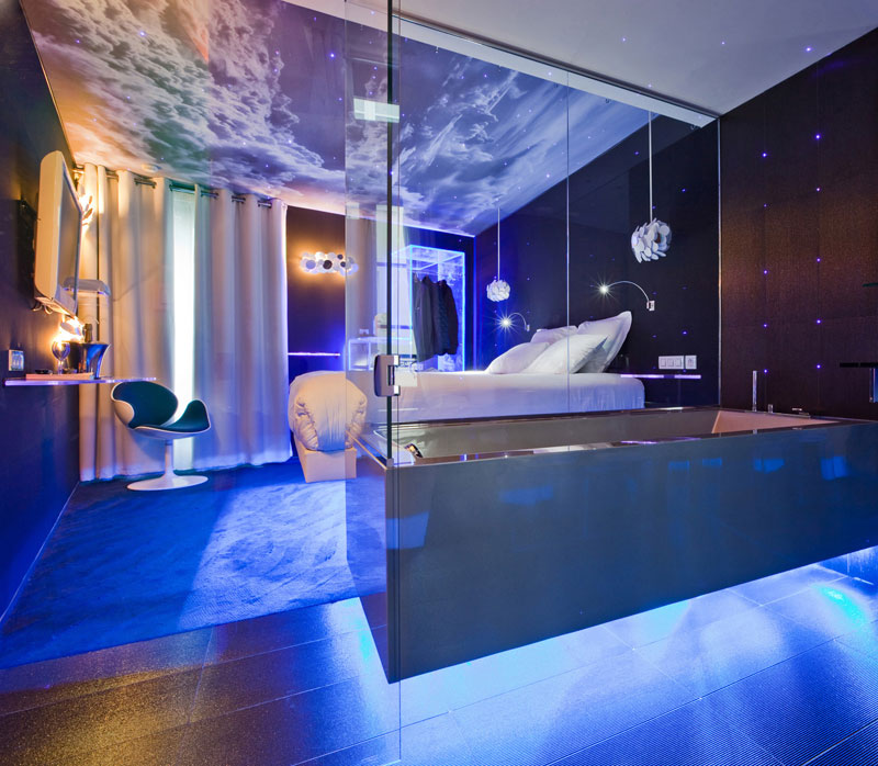 luxurious bathroom blue lights