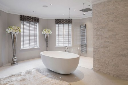 Freestanding bath and beautifully tiled walls