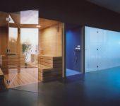 Sauna, walk-in shower and steam room complex