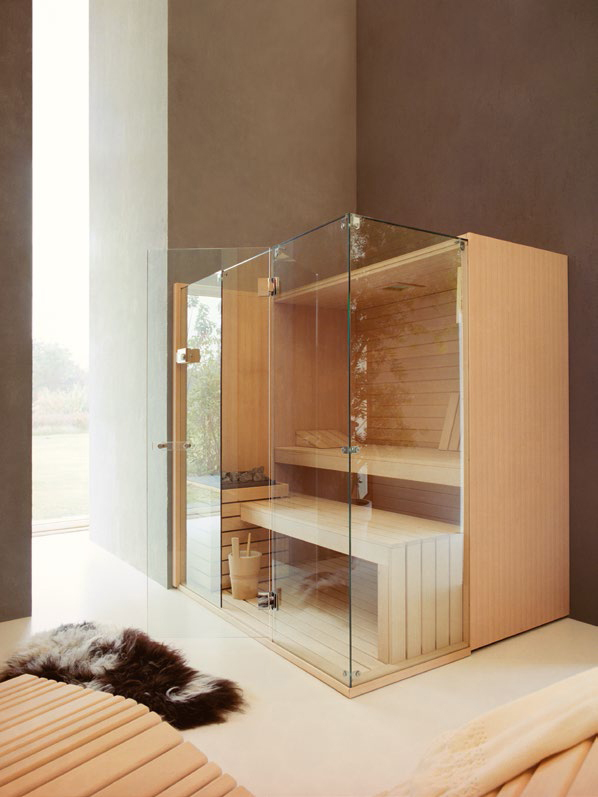 Sauna with enhanced interior for colour therapy