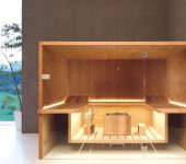 Air sauna with heat-treated aspen wood with outside shelves