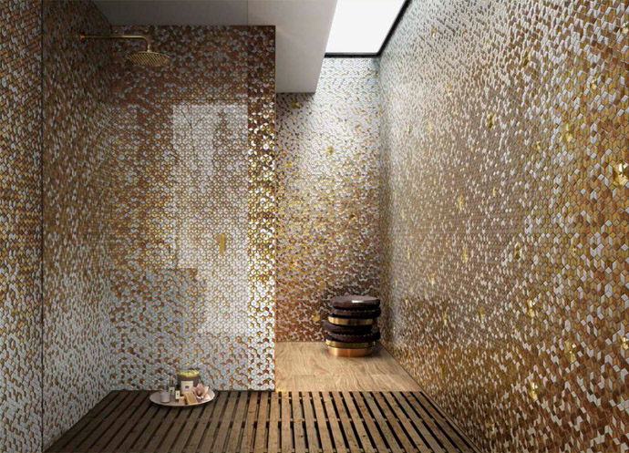 Luxury bathroom concept design for Gold mosaic bathroom accessories