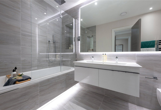 Subtle White Grey Bathrooms Concept